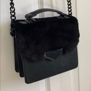 Aldo black faux fur crossbody purse 👜